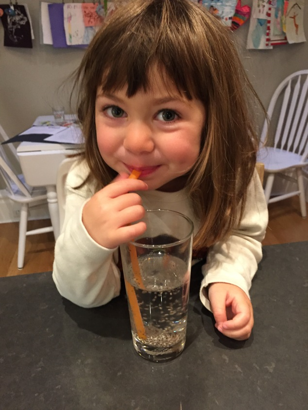 "Here's Clover enjoying our homemade, kid-safe effervescent ""treat"" drink"